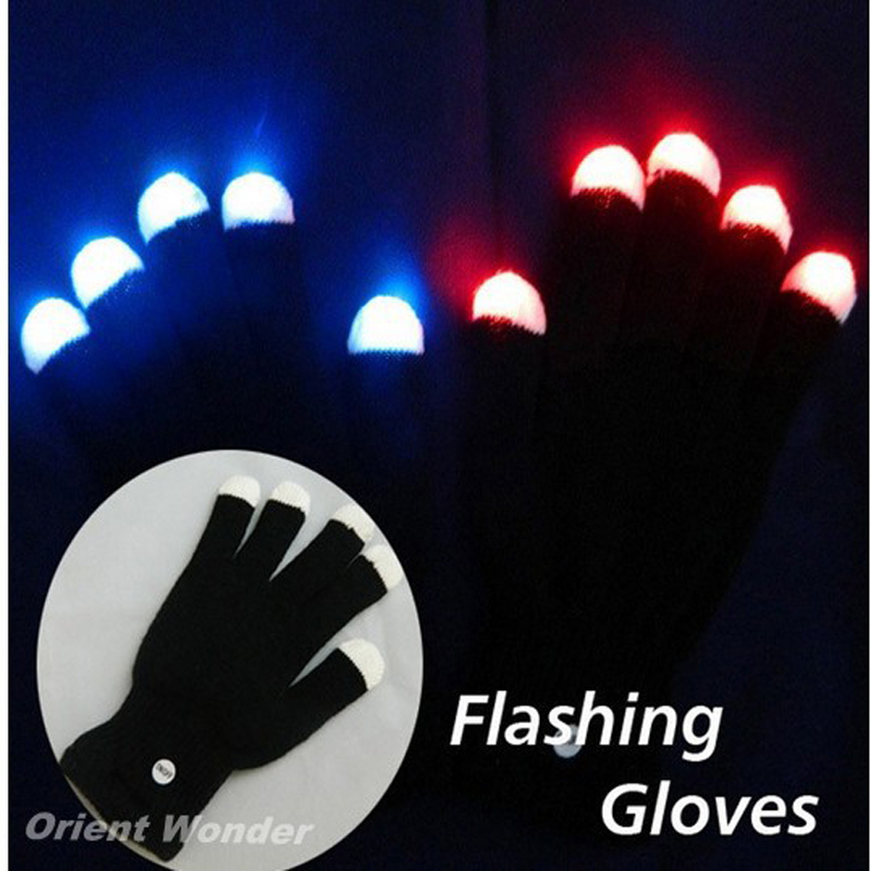 800pcs Party LED Gloves Rave Light Flashing Finger Lighting Glow Mittens Magic Black Gloves Party Accessory(China (Mainland))