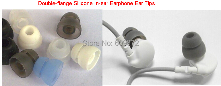Replace Double flange Silicone Rubber earbud Ear plug 2 layer eartip 100 pcs lot inner hole