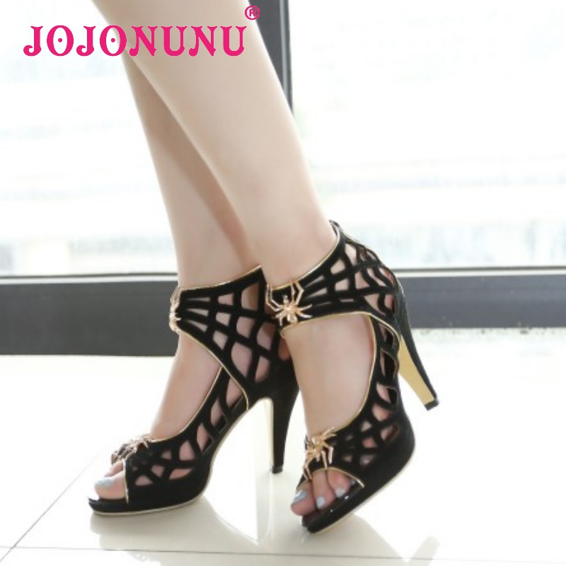 women stiletto real genuine leather open peep toe high heel sandals brand sexy fashion ladies heeled shoes size 34-39 R7162<br><br>Aliexpress