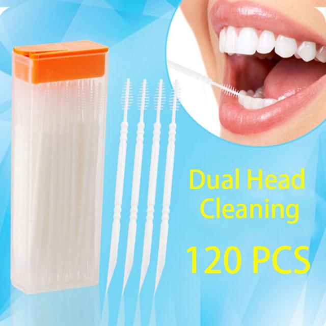 Двойной Головкой 120 шт. Зубная Нить Межзубных Зубочистки Кисти Чистить Зубы Палку ...