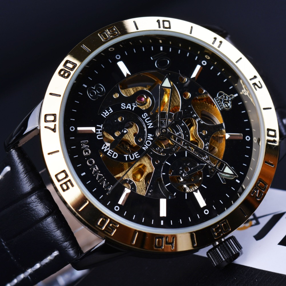 Orkina Royal Carving Skeleton Design Golden Bezel Men Watches Top Brand Luxury Automatic Watch Mechanical Relogio Gold Watch Men<br><br>Aliexpress