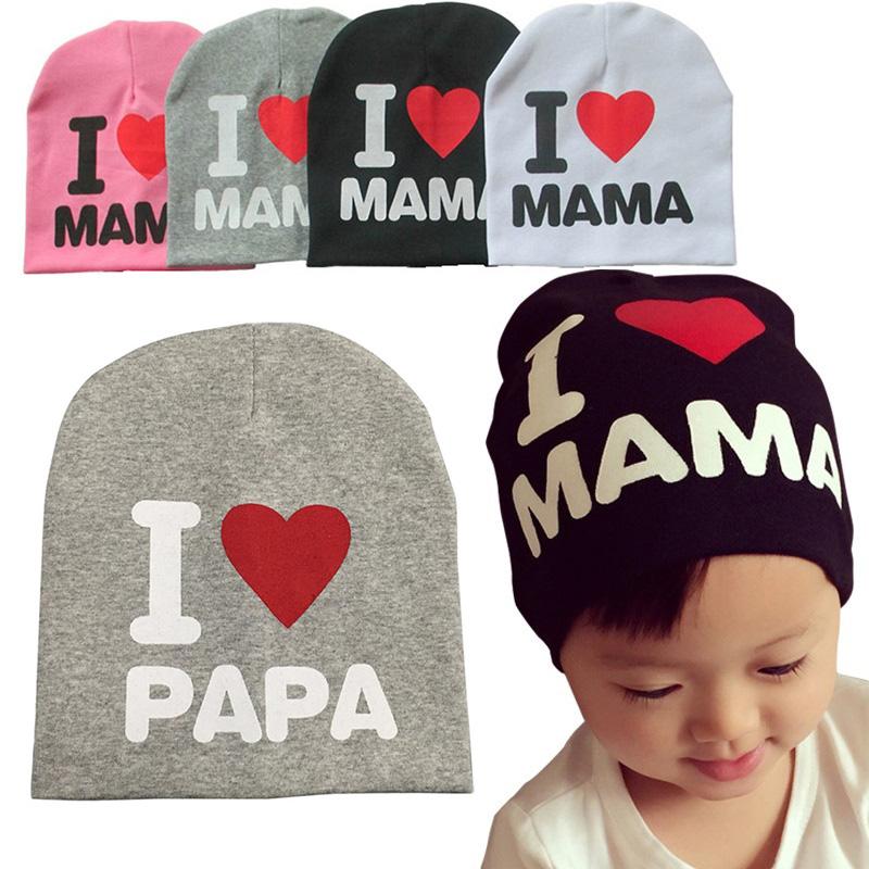 Cute gorra I LOVE MAMA PAPA baby hat kids cotton beanie boy girl crochet bonnet cap newbown props,touca chapeu toca infantil(China (Mainland))