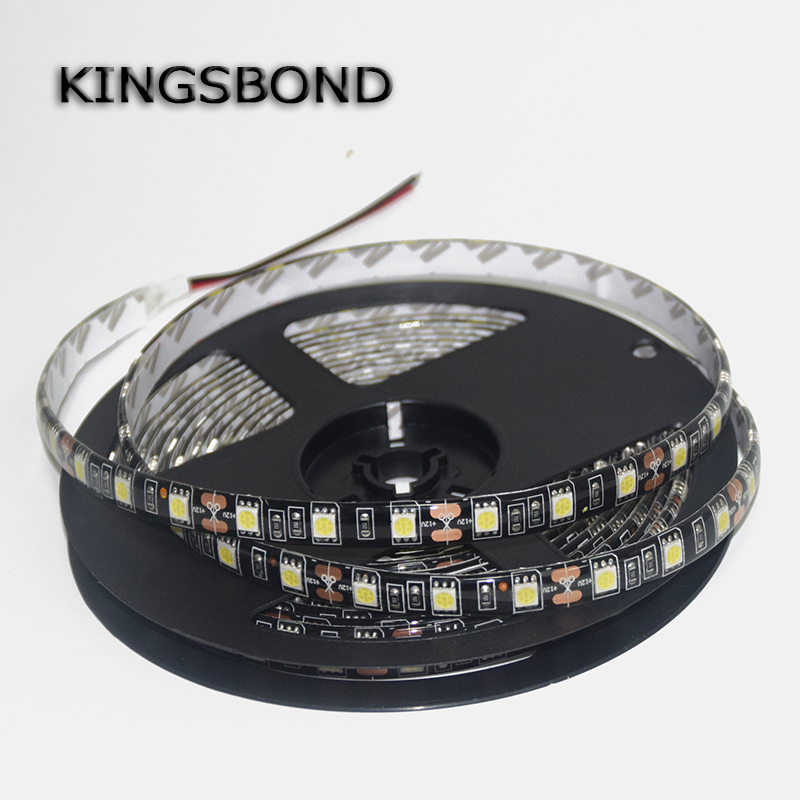 Black PCB Board 5050 LED Strip DC12V 60LED/M 5M/Roll IP67 Waterproof Lamp Flexible light flexible ribbon single color 5 meters(China (Mainland))