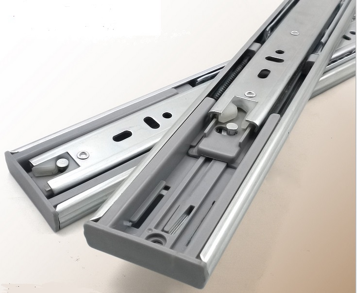 3Pairs/LOT 18 inches (450mm) H4512 soft close ball bearing drawer slide zinc plate 1.2*1.2*1.2 mm thick 3 folds Full extension(China (Mainland))