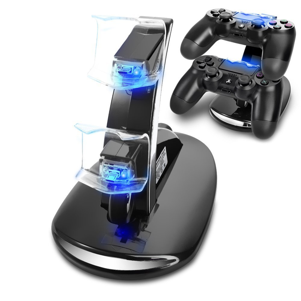 Dual usb charging led remote controller chargers stand for play