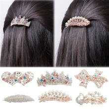 Buy 1PCS Noble Women Crystal Full Drill Flower Hairpins Hair Clip Heart Bow Leaf Peacock Barrette Hair Band Accessories for $1.33 in AliExpress store