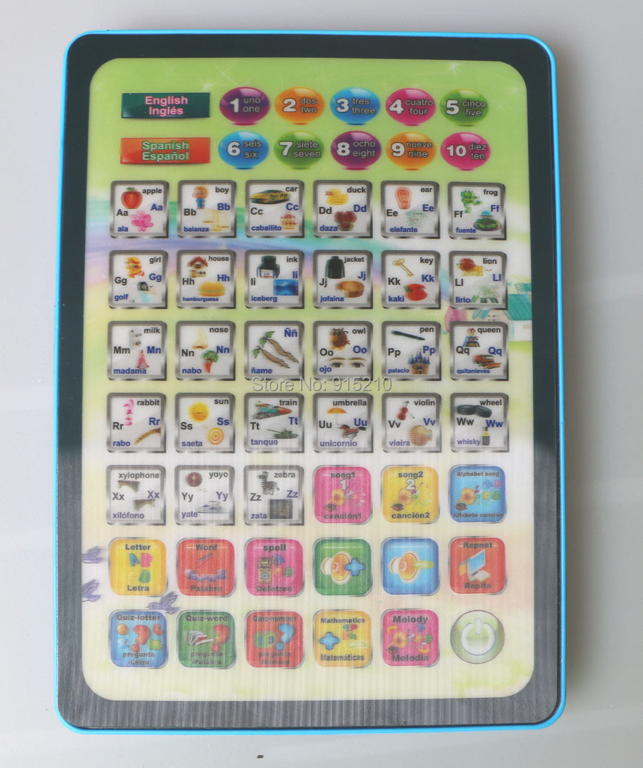 Y-pad table computer educational toys,Ypad English and Spanish learning machine baby toy for kids with two colours mixed(China (Mainland))