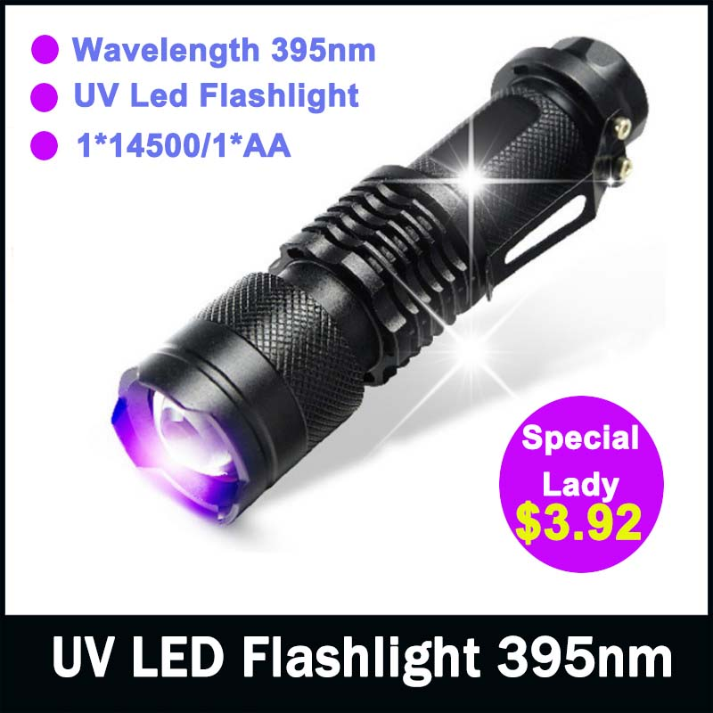 zk50 LED UV Flashlight NEW Arrival Shock Resistant CREE Q5 SK68 Purple Violet Light UV 395nm Lamp 1*14500/1*AA Free Shipping(China (Mainland))