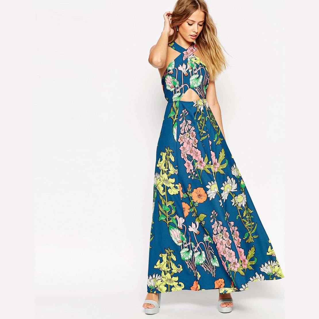 New Fashion 2015 Summer Style Maxi Women Dress Casual Off The Shoulder Sleeveless Long Dress