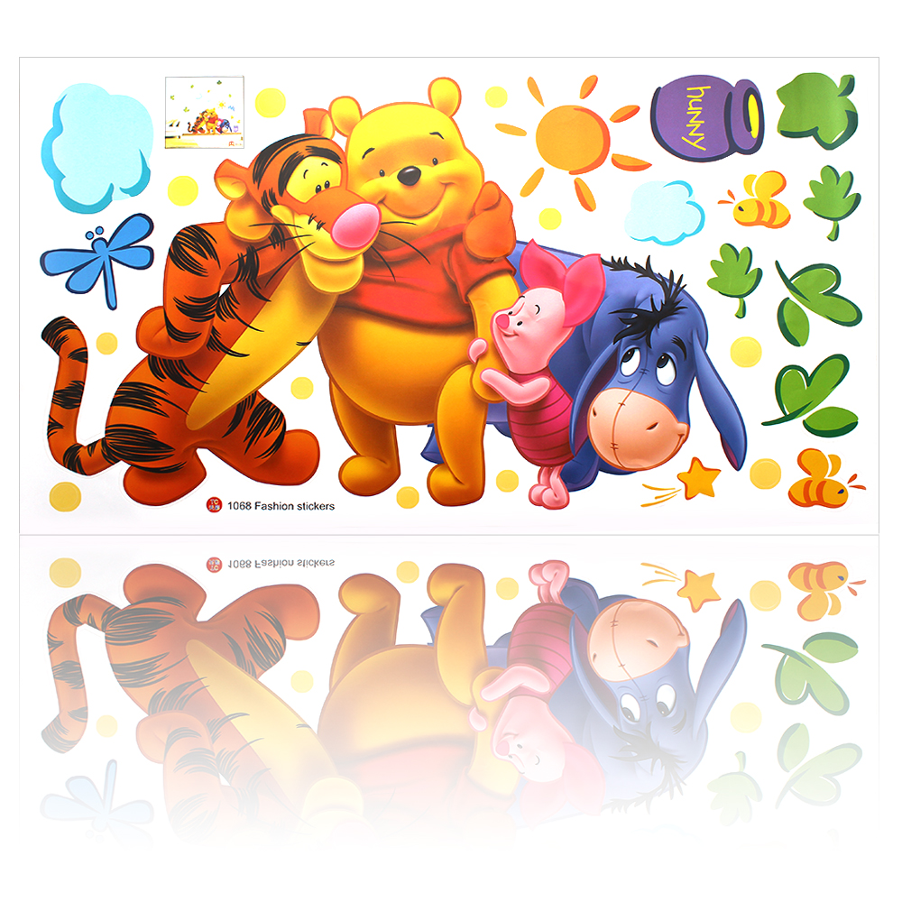 CUTE Winnie the Pooh friends wall stickers for kids rooms Home Decor sticker adesivo de parede removable pvc wall decal #KF(China (Mainland))