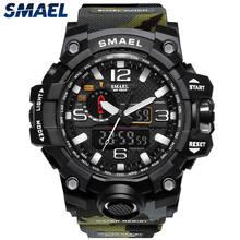 Smael marca masculina moda à prova dwaterproof água cronômetro analógico relógio de quartzo dos homens do esporte relógios casuais relógio digital masculino relogio masculino(China)
