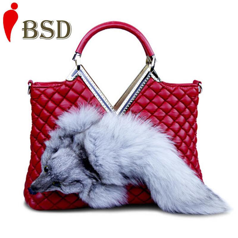 100% genuine leather bag Fox bags handbags women famous brands rhombic fox fur women messenger bags red shouledr bag V6G158<br><br>Aliexpress