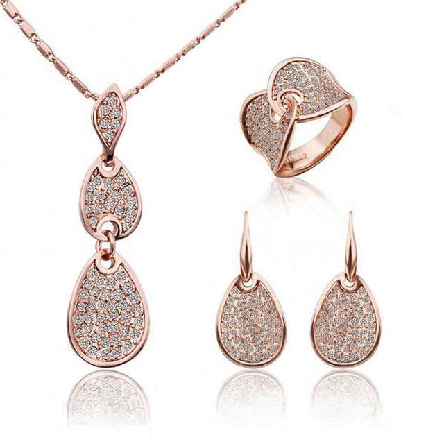 Кристалл позолота серебро благородной элегантности ювелирные изделия ожерелье серьги ...