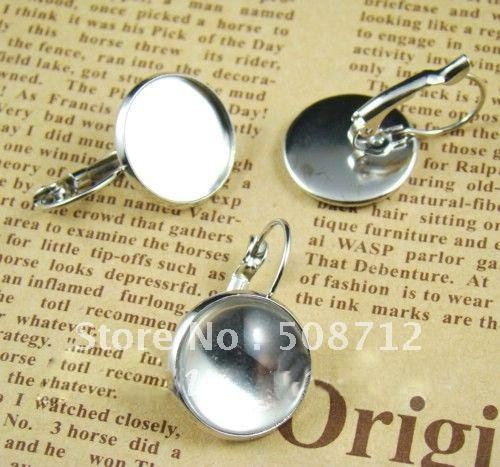 Free shipping!!! DIY jewelry-French Lever back earring base silver color 12mm pad  earring findings EFH0001