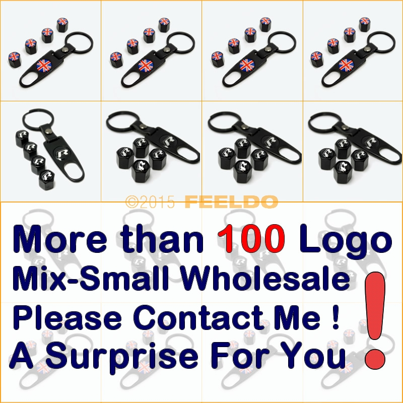 10Set Black Car tire wheel valve steam caps keychain Mixed LOGO #J-3749 - AUTO MAXX store