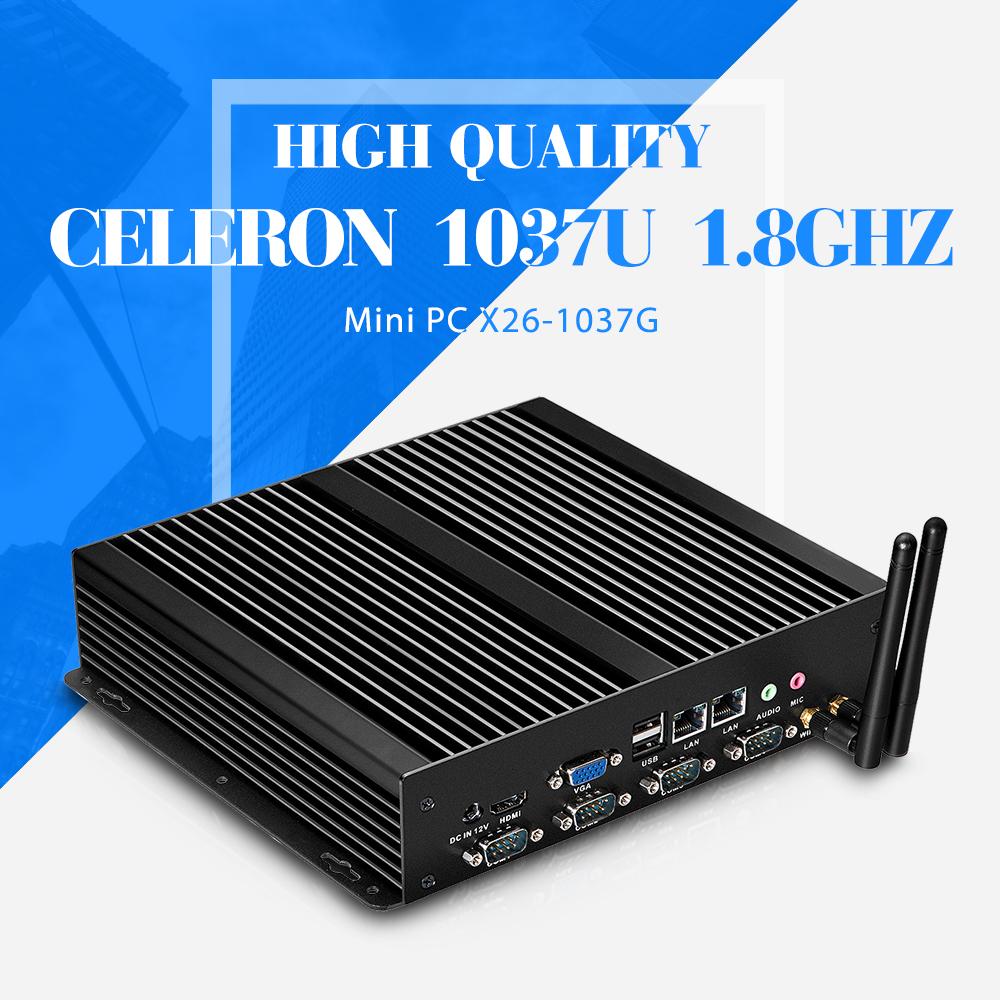 C1037U barebone mini pc micro industrial pc Mini Computer station fanless pc hosts thin client support HD video(China (Mainland))