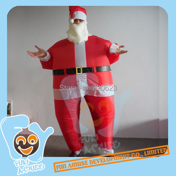 Christmas Decorations Unisex Inflatable Santa Claus Costumes For Adults Air Blowing Fat Suits One Size For All(China (Mainland))