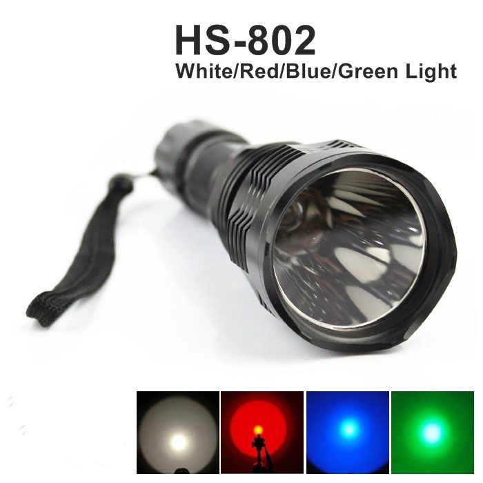 High Quality CREE LED Torch Flashlights White Red Green Blue light optional powered by 18650 battery