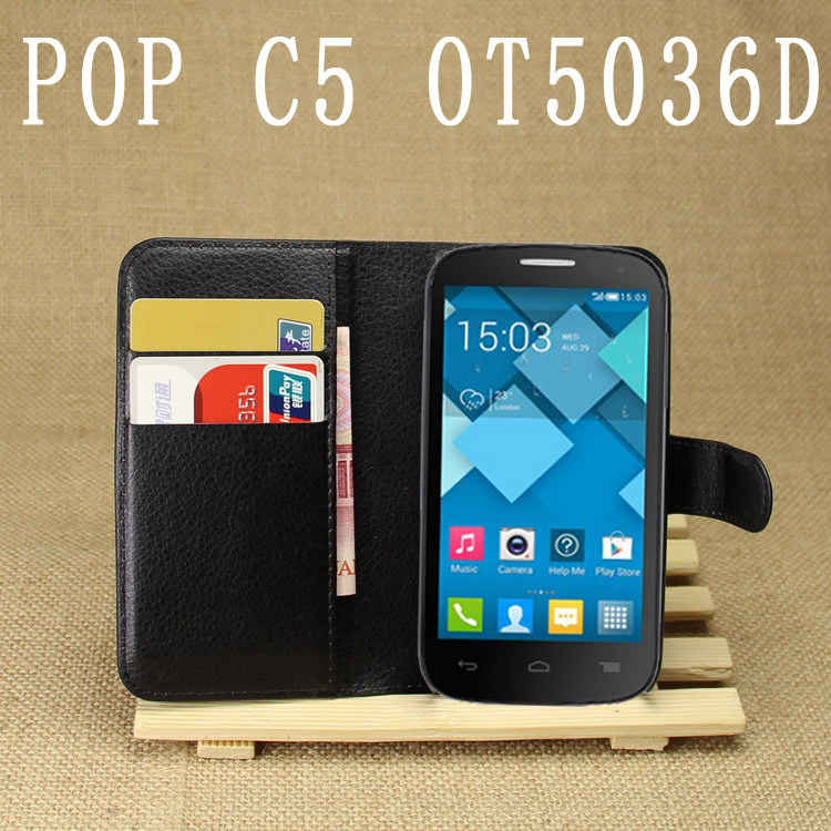 Free shipping Lichee Pattern PU Leather Cover Case For Alcatel One Touch Pop C5 Cell Phone Holster For Alcatel OT5036D (China (Mainland))