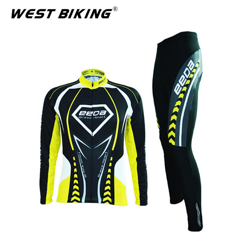 EEDA Quick Dry Reflective Men Black Yellow Stripe Bike Bicycle Cycling Jerseys Pants Sets Sports Tights Clothing Suit GEL Padded<br><br>Aliexpress
