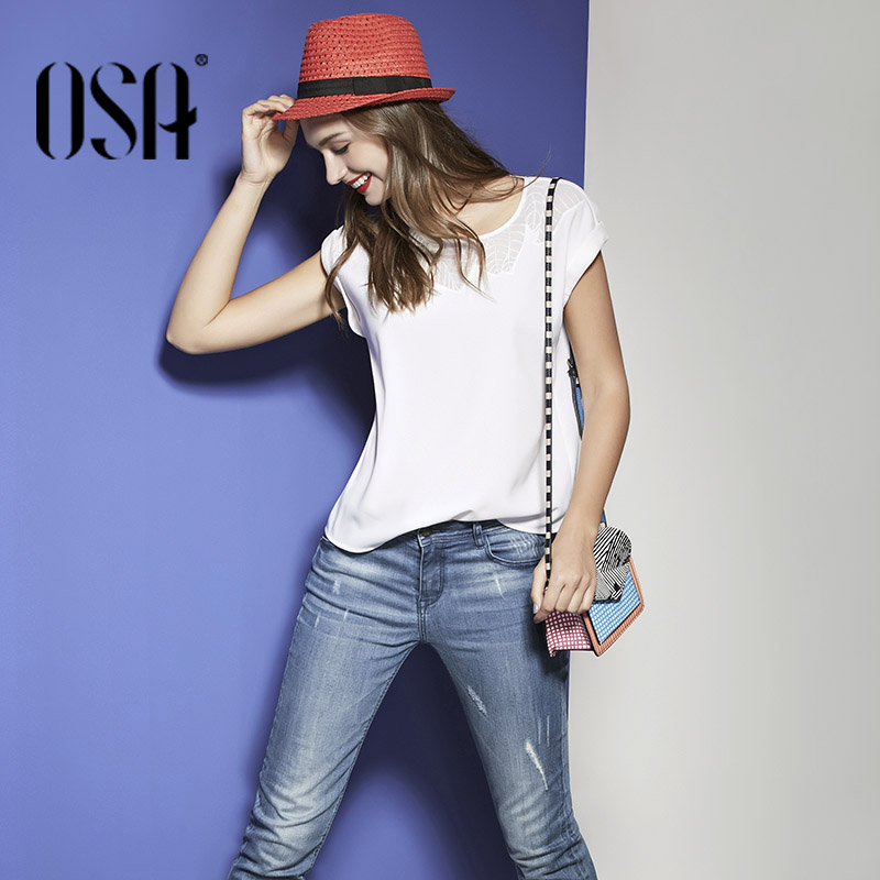 OSA 2016 Summer loose chiffon casual wear solid T-shirts women tops basic sports models daily office Blusas Feminina S116A12015Одежда и ак�е��уары<br><br><br>Aliexpress