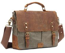 Винтаж Crossbody Сумка Военная Холст + Кожа сумка сумки Мужчины сумка мужская кожаная Сумка сумка Портфель мешок Отдыха(China)