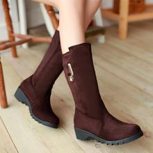 Nuevo invierno mujeres más el tamaño 30-50 flock solid punta redonda bajo el talón zapatos calientes Slip On negro media pantorrilla nieve HQW-9699(China (Mainland))