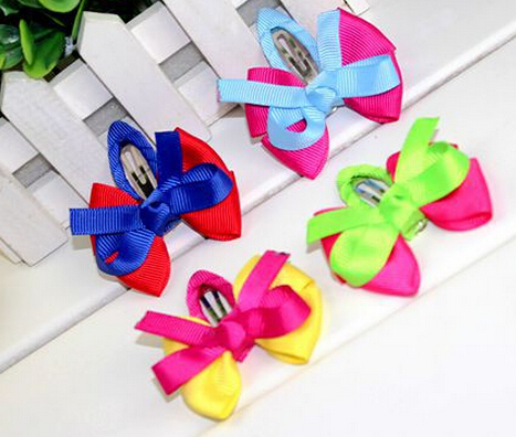 New design kids cute hair clips hairgrip 5pcs/lot wholesale children baby flowers bowknot hairgrip headwear accessories(China (Mainland))