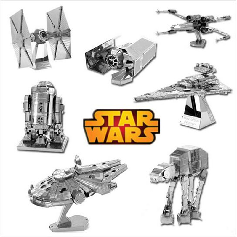 Star Wars 3D Metal Puzzle Assemble DIY Tie X-wing Fighter Millennium Falcon Model Toys Gift for Children(China (Mainland))