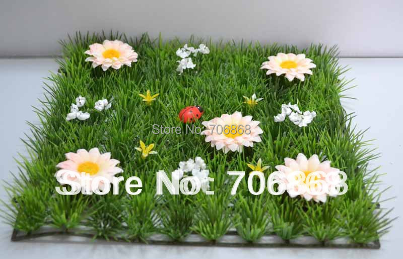 50 pieces artificial grass mat boxwood mat with silk daisy flower 4(China (Mainland))