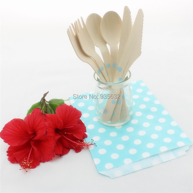 Disposable Party Dinnerware Set Stripes Polka Dot Chevron Paper Treat Bags Striped Printed Wooden Spoons Knives Forks for Party(China (Mainland))
