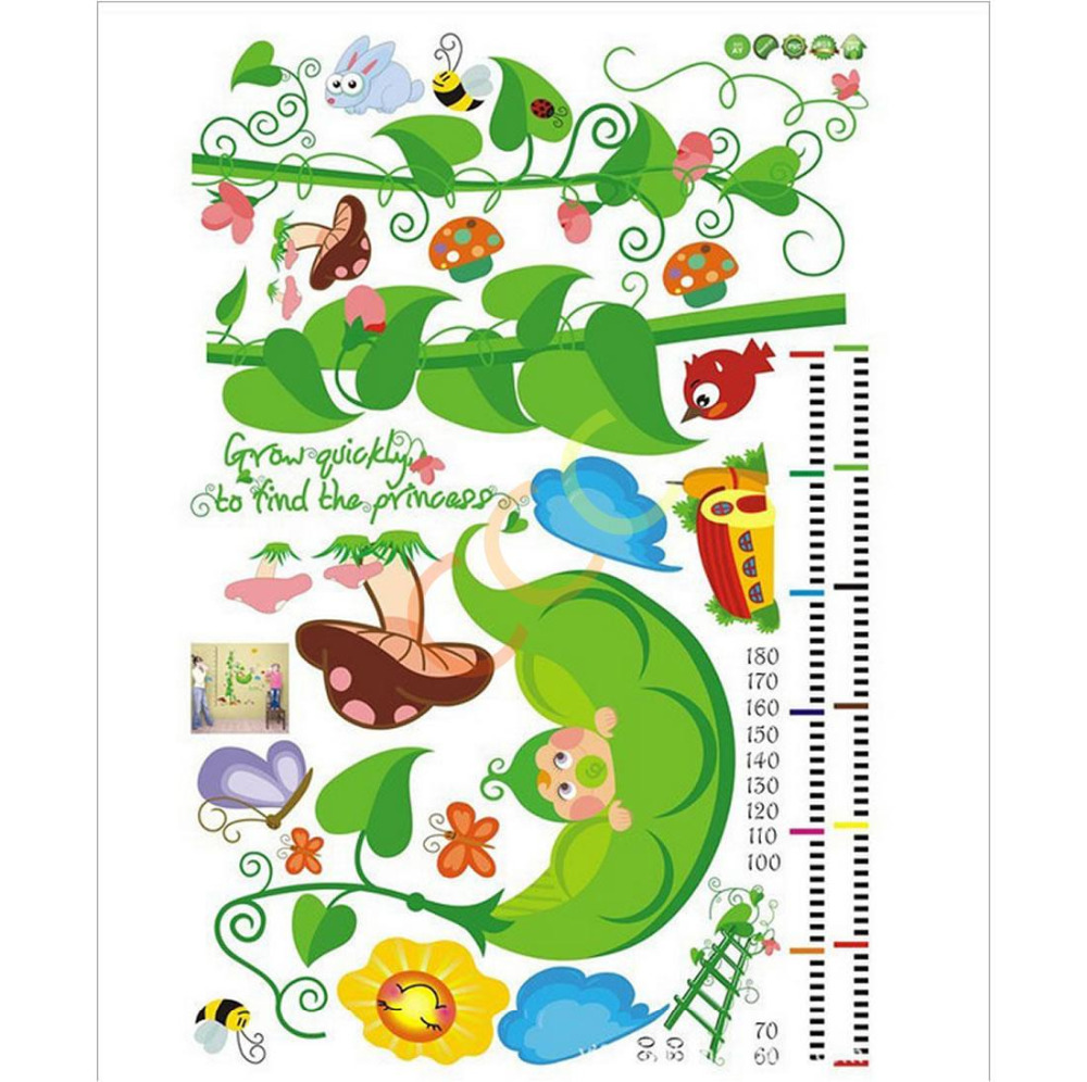 Cartoon Removable Pea Measurement Height Vinyl Decal Art Home Wall Stickers Word Room Diy Bedroom Baby Child(China (Mainland))