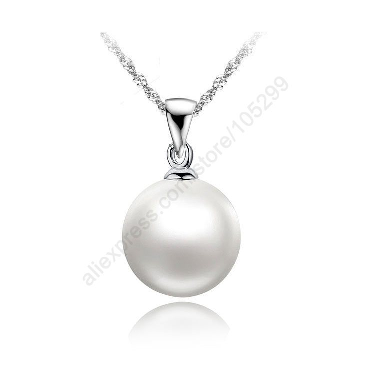Nice Accessories 100% 925 Sterling Silver White Pearl Pendant Necklaces 18 inch 925 Silver Singapore Necklace Chains For Women(China (Mainland))