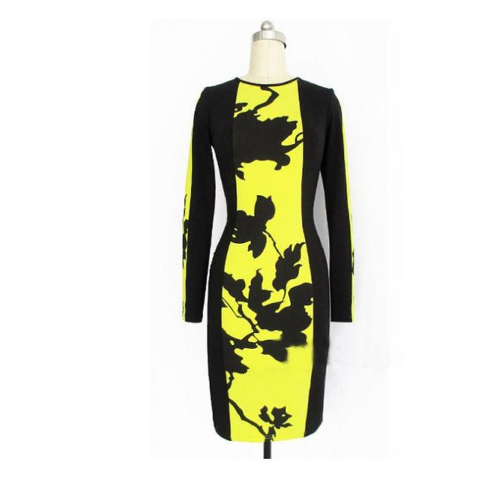 Europe Style Close-fitting Printing Dresses Long Sleeves Black Yellow color ET006 - ET Plaza store