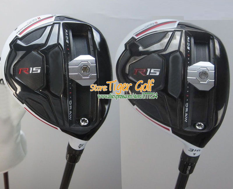 R15 Golf Fairway Wood Golf clubs wood 3/15 5/18 loft with Golf Graphite shaft and Wood headcove 2pcs/lot Freeshipping(China (Mainland))