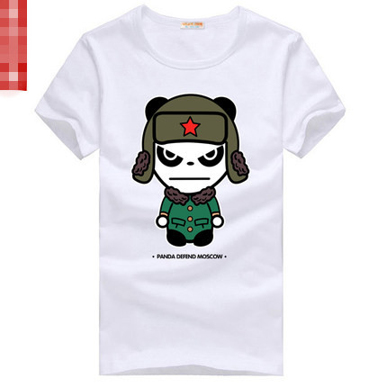 Cute PANDA Couples Unisex Short Current Tee Red Army Hat Cotton Models and Colors Available(China (Mainland))