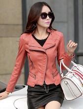 Fashion mandarin collar womens jackets 2015 beige white leather clothing slim motorcycle leather jacket women outerwear coats(China (Mainland))