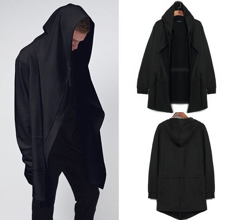 2015 Autumn&Winter Fashion New Black Cloak Hooded Male Streetwear Hip Hop Long Hoodies Clothing Men Outerwear Big Size Cool Man(China (Mainland))