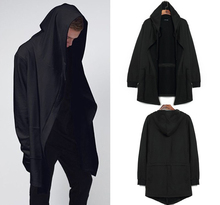 2015 Autumn&Winter Fashion New Black Cloak Hooded Male Streetwear Hip Hop Long Hoodies Clothing Men Outerwear Big Size Cool Man(China (Mainland))