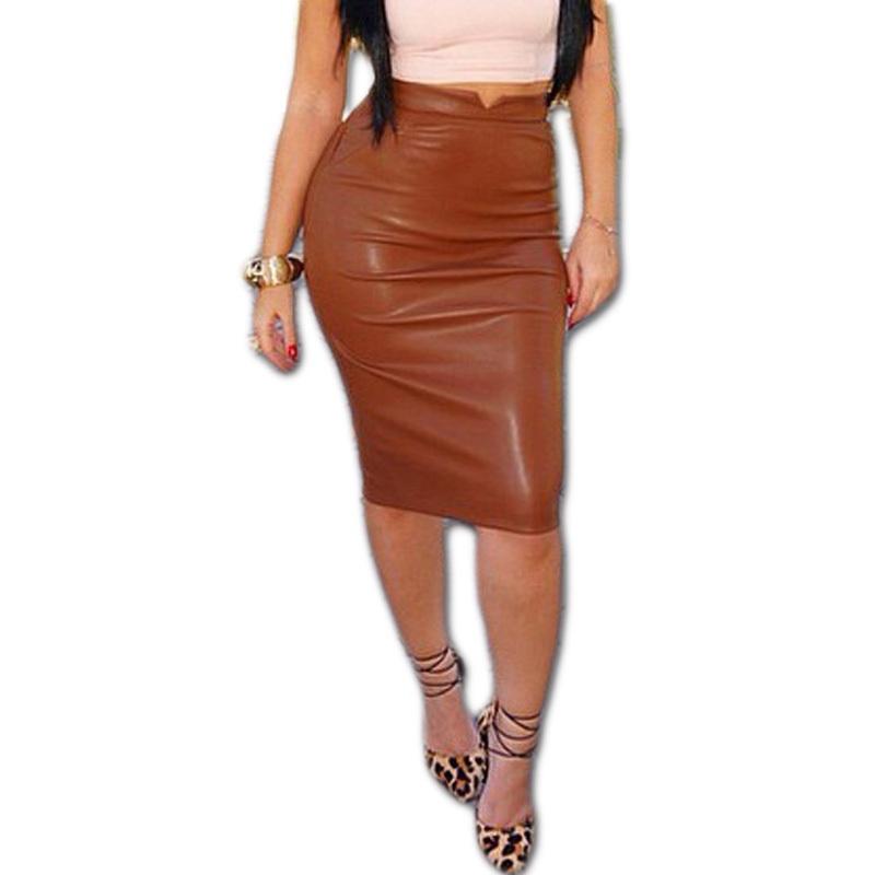 new autumn skirts high waist faux leather skirt