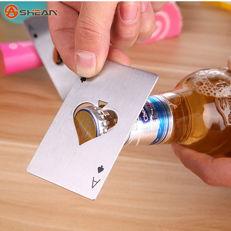 1pcs Stylish Creative Home Party Stainless Steel Playing Card Spades Bar Tool Soda Beer Bottle Cap Opener(China (Mainland))