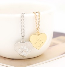 Hot Creative love Heart Paw Claw of Dog Kitty Cat Pendant Necklace jewelry lovers Best Valentine