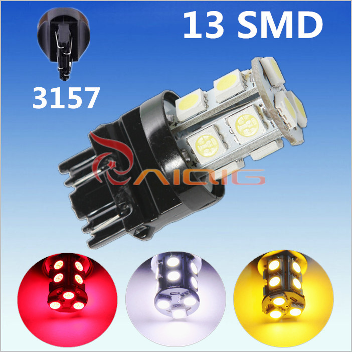 3156 3157 Red / White Amber Yellow 13 SMD 5050 LED Car Bulbs Lamp Auto p27/7w led parking 12V Front rear brake Lights - Guang Zhou Ming Zhi Technology co., LTD store