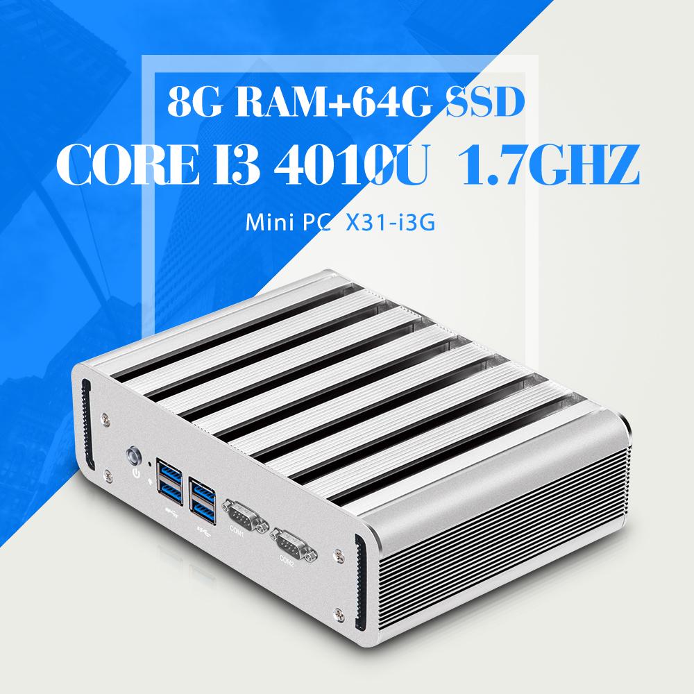 Mini computer I3 4010U 8GB RAM 64GB SSD Network Computer Thin Client mini pc 6*USB 1*HDMI 1*VGA 2*RJ-45 2*COM(China (Mainland))