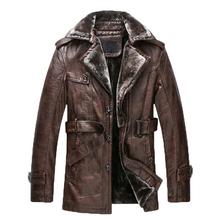 2016 New Brand Men Genuine Leather fur wool Jacket Coat Man PU Leather Parka Male Outwear Plus Big Size 3XL jaqueta de couro(China (Mainland))