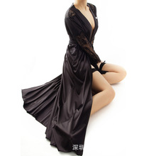 2016 New Arrival Exclusive Sexy Elegance Lace High-end Silky Long Night Robe Woman Night Dress Pajamas for Girl SW1045(China (Mainland))