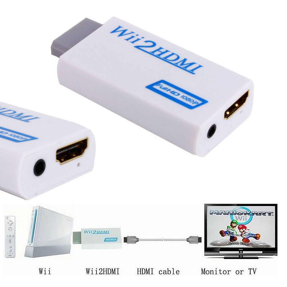 Free Shipping White For Wii to HDMI Wii2HDMI Adapter Converter Full HD 1080P Output Upscaling 3.5mm Audio Video Output Hot Sale(China (Mainland))