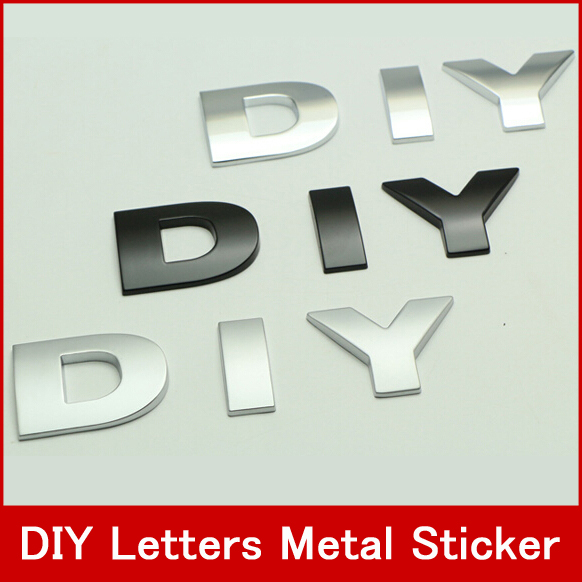 Personality DIY Modified Letters And Number Car Decor Car Styling ,Metal Modified Logo Marking Words Car Stickers(China (Mainland))