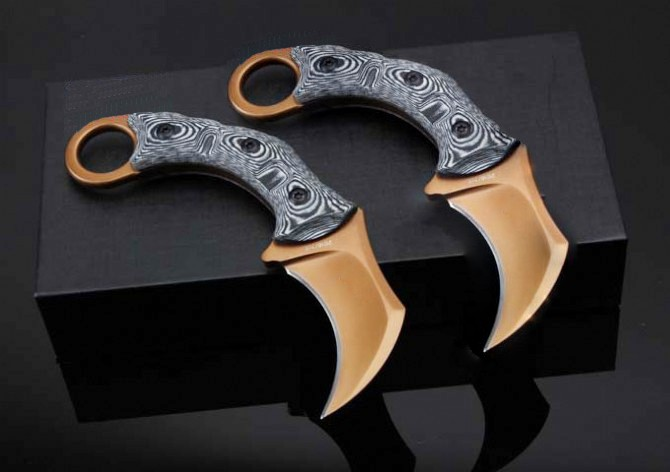 Buy 2 Options! D2 Blade G10 Handle Karambit Tactical Fixed Knives, Small Hunting Knife,Camping Survival Knife. cheap