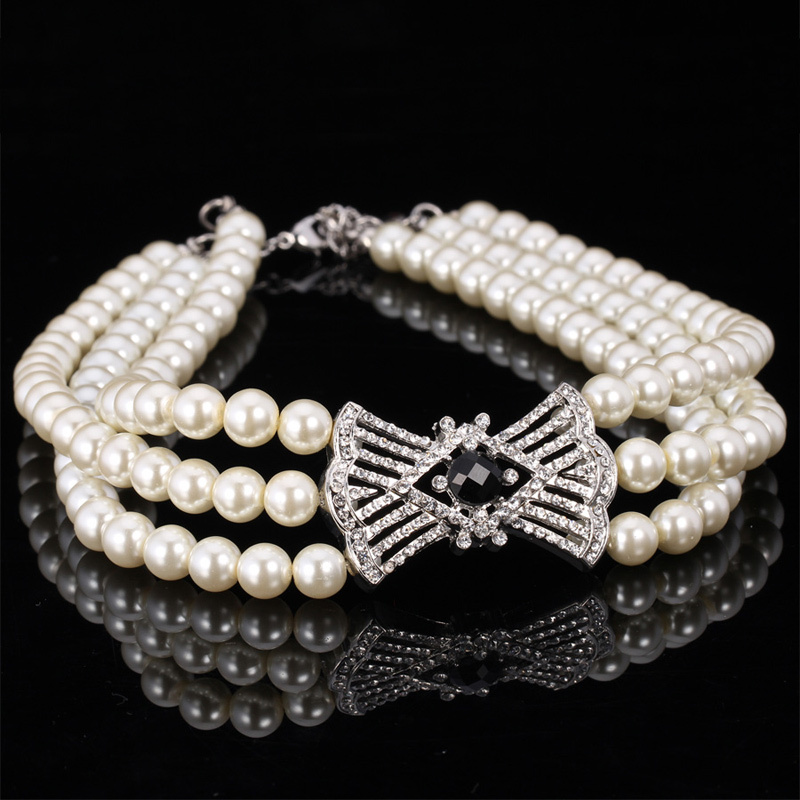 Choker Necklace  Jewelry For Women Vintage Elegant Bride Jewelry White/Black Pearl Bead Rhinestone Brand Accessories N603<br><br>Aliexpress
